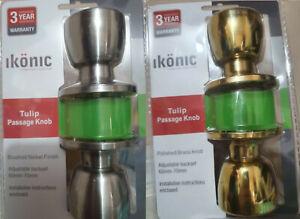 Ikonic Tulip Passage Door Knob 60mm - 70mm Adjustable Set Brass Or Brush Nickel