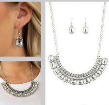 ~Killer Knockout~ White Rhinestone Necklace +Earrings Paparazzi Jewelry
