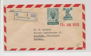 LM82086 India 1949 to Germany registered airmail cover used