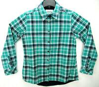 Orvis Womens Sz Small Flannel Shirt Jacket Fleece Lined Pockets Plaid Snaps