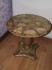 "17"" Onyx GOLD LEAF Pre-1960 Mosaic SIDE End TABLE Marble Gilt Stand ANTIQUE VTG"