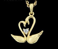 GOLD PLATED NECKLACE LINK CHAIN WITH CRYSTAL SWAN HEART LOVE DESIGN W GIFT BOX