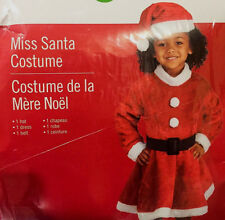 Miss Santa Toddler Dress Costume Size 2-4 Christmas Pictures Up Play Dance Hat
