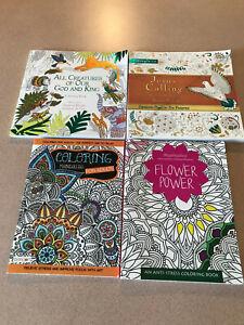 4 Adult Coloring Books: Flower Power, Mandalas, Jesus Calling, All Creatures EUC