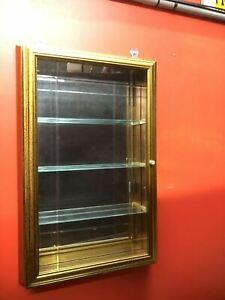 Creazioni Artistiche Italian Wall Curio Cabinet Vintage Gold Tone Made In Italy