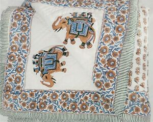 Ethnic Elephant Printed Home Decor Soft Comforter Colorful Floral Cozy Bedpsread