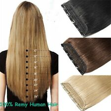 200g 5Clips On One Piece Clip In Remy Human Hair Extensions 20''~26'' All Colors