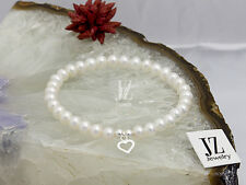Cultured Freshwater Pearl Bracelet/Anklet with Sterling Silver Heart Charm