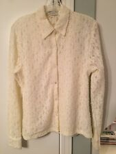Off-White Ivory Lace button down Lined Shirt Top Blouse Lord & Taylor M EUC