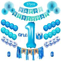 Blue 1st Happy Birthday Party Decorations Paper Banner Girl Boy Birthday Balloon