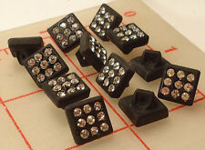 "2 Vintage Small Black Glass Square Shank Rhinestone Buttons Czech 3/8"" 10mm 461"