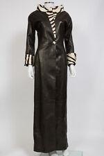 Rare Jean Claude Jitrois Black Lambskin Leather Ponyfur Cruella Great Coat sz 4