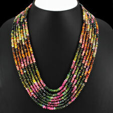 ABSOLUTELY 512.00 CTS NATURAL 7 LINE WATERMELON TOURMALINE BEADS NECKLACE