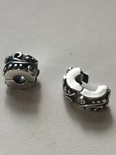 Two Sterling Silver Pandora ALE 925 Swirl Clip Beads With Pink CZ's