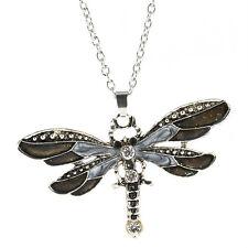 Retro Fashion Women Enamel Dragonfly/Butterfly Crystal Pendant Necklace Jewelry