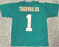 Tua Tagovailoa Autographed Teal Jersey - Signed Beckett BAS