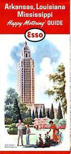 1964 Esso Road Map: Arkansas Louisiana Mississippi (W964) NOS