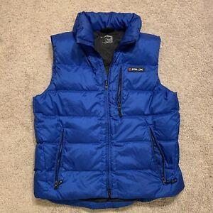 Ralph Lauren RLX Blue Goose Down Zip Up Mens Hooded Outdoor Vest Jacket Medium