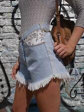 JEANS shorts culotte da donna 90er PASTELLO FIORELLINI Grunge 90s True Vintage Fringe PANTS