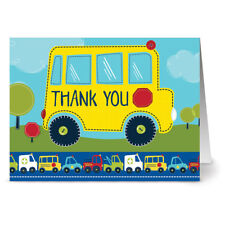 24 Note Cards - School Bus Thank You - Red Envs
