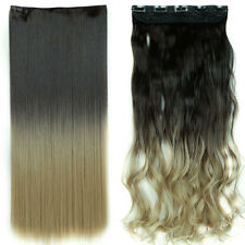 Natural Thick Clip in Hair Extensions Ombre Hairpiece Two Tone Colors Full Head