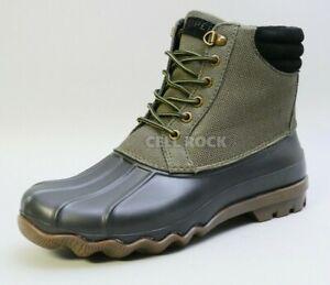 Sperry Men Boots Waterproof AVENUE DUCK BOOTS Wet Weather BOOTS 12M -OLIVE-