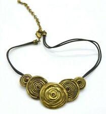 Chico's Topaz Rhinestone Gold Tone Swirl Modernist Metal Bib Choker Necklace