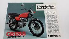 Vintage Honda CB 125S MOTORCYCLE/MOTORBIKE dealer/sales brochure