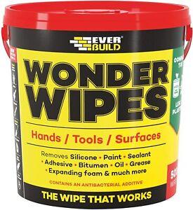 Everbuild Wonder Wipes Monster 500 Wipe Tub Hand Cleaning Wipe Multi Purpose