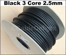 BLACK 3 Core Flexible Flex Mains Wire Cable 1m - 100m 2.5mm (3183Y) Per Metre