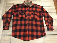Vintage Spaide Union Buffalo Plaid Flannel L/S Wool Shirt Small or Med Red Black