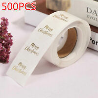 500pcs Merry Christmas Stickers Transparent Gold Stamp Stickers Adhesive Labe SP