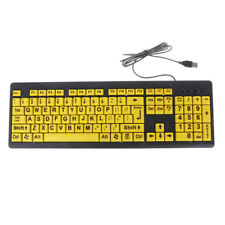 Big Black Letter Print Yellow Button USB Wired Keyboard For Elderly & Low Vision