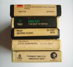 4x 8-Track Cartridge Tapes Best Bread Pilot Louis Armstrong Conway Twitty Slade