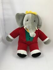 "Gund Babar Elephant Red Suit Plush Stuffed Animal 1988 Vintage Toy 15"""