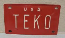 1960'S VINTAGE MINI USA TEKO LICENSE PLATE NAME TAG SIGN BICYCLE VANITY