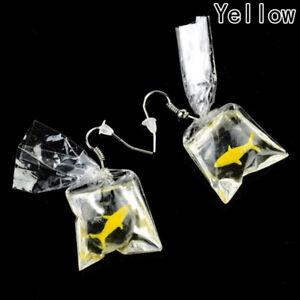 Fashion Yellow goldfish in plastic bag Ear Drop Earrings Tassel Lovely Jewelry