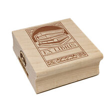Ex Libris Bookplate Stack of Books Reading Square Rubber Stamp Stamping Crafting