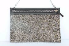 Swarovski Gold-Tint Crystal Clutch Purse Bag Zip Remove Chain Calfskin Leather