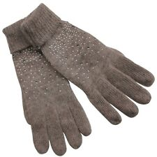 Gloves Woman Angora Wool Brown Strass Lenses Glass Bright Tacks 1