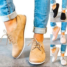 Womens Sneakers Casual Suede Trainers Lace Up Flats Slip-on Loafers Shoes Size