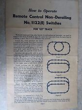LIONEL - O SCALE - INSTRUCTIONS - REMOTE CONTROL NO 1122(E) SWITCHES FOR O-27