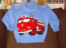 CARS FIRE TRUCK   NEW HAND KNITTED SIZE 4-5
