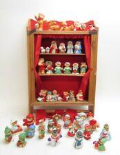 Lucy & Me -Christmas - Enesco Teddy Bear Figurines - Lot of 30 Plus Wood Display
