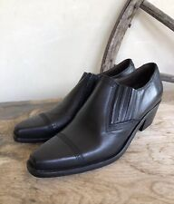 GUESS Vtg 80-90s Black Leather Western Cowboy Shoe Boot 7.5M Spain NEW NOT WORN