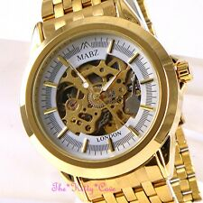 Automatic Mechanical Skeleton Steampunk 2tone Gold Gents Men Ladies Unisex Watch