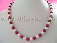 """22"""" Natural 8mm White Pearl Red Coral Necklace 14K!"""