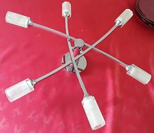 Metal 6 Bulbs Chandelier Ceiling silver light Home Lighting decor Modern lounge