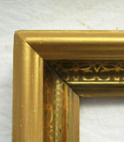 "2 ANTIQUE Fit 10x13"" LEMON GOLD GILT STENCILED PICTURE FRAME FINE ART VICTORIAN"