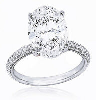 14K WG 1.60 Ct. Oval Cut Diamond Micro Pave Engagement Ring F,VS1 GIA Certified